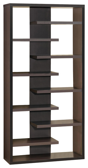 Interjecting Shelf Bookcase With Center Back Panel.