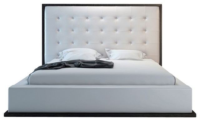 Ludlow Bed Wenge White Leather Cali King