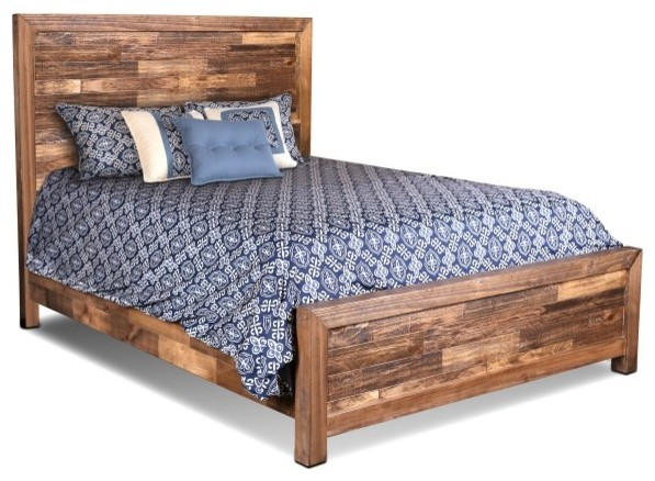 fulton solid wood queen size bed frame farmhouse panel beds - Wooden Queen Bed Frame