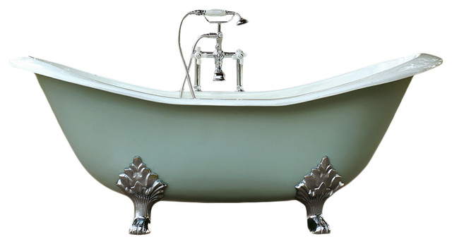 Green-Blue 6' Antique-Style Cast Iron Double Slipper Clawfoot Bathtub