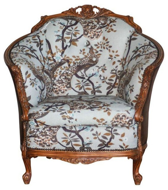 Antique Carved Barrel Chair Armchairs And Accent Chairs