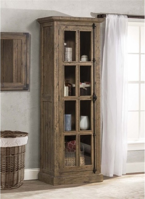 Bowery Hill Single Door Curio Cabinet Aged Gray