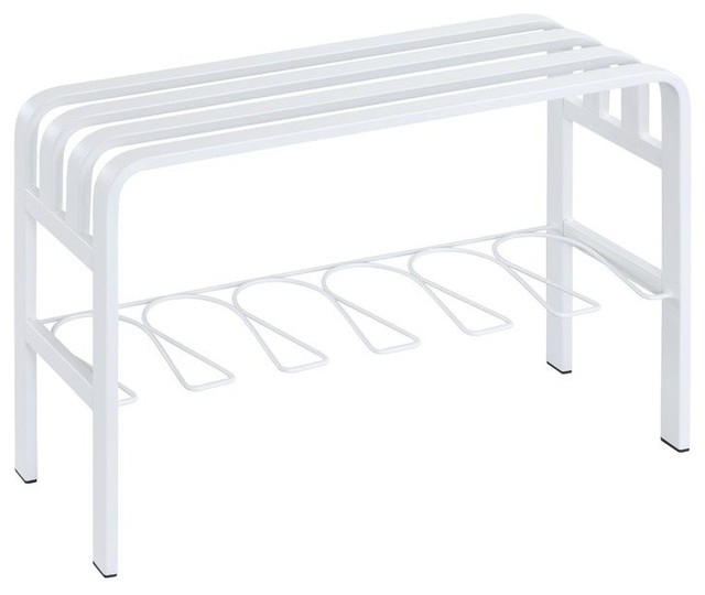 Amazing Horizon Entryway Bench With White Powder Coating On Sandblast Metal Tube Caraccident5 Cool Chair Designs And Ideas Caraccident5Info
