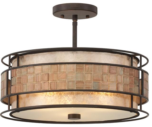 Exeter 3-Light Semi-Flush Pendant Light With Renaissance Copper Finish.