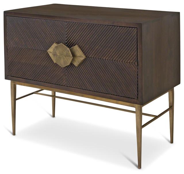 Darwin Global Bazaar Dark Wood Brass Storage 2 Drawer Chest
