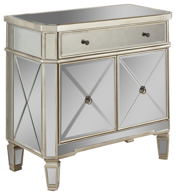 Genial Mirrored 1 Drawer, 2 Door Console
