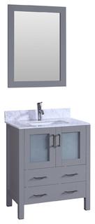 "30"" Bosconi Gray Single Vanity Set, Oval Sink, Carrara Marble"