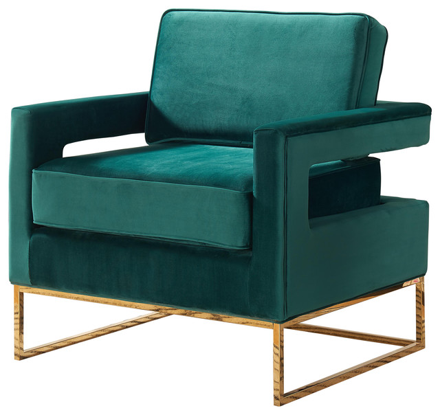 Noah Velvet Accent Chair Green Gold Base  sc 1 st  Houzz : contemporary accent chair - lorbestier.org