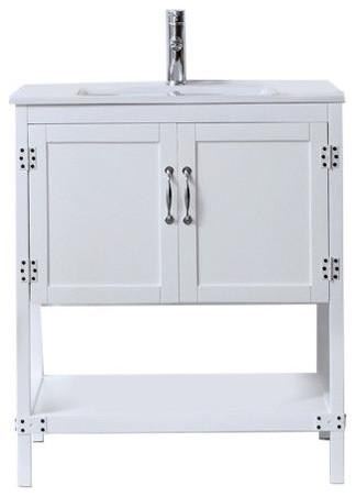 "Wood Sink Vanity With Ceramic Top, 30"", White."