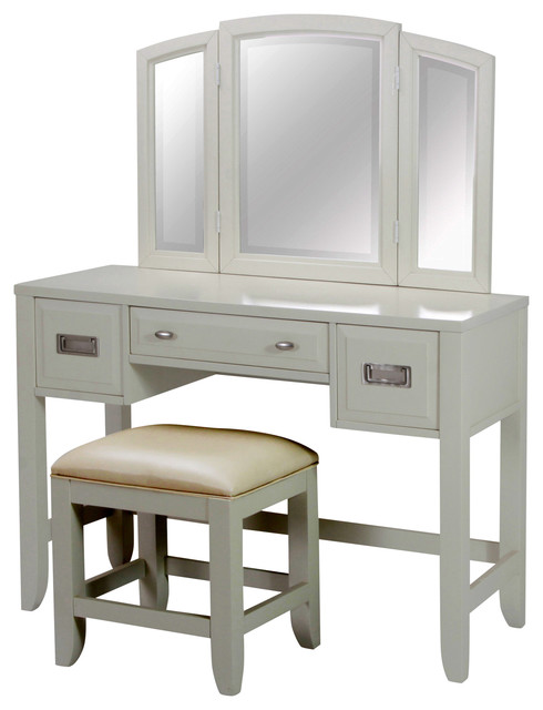 Newport Vanity With Mirror And Vanity Bench Transitional