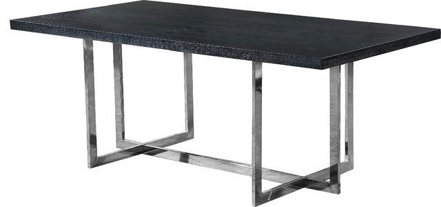 In Stock Elle Chrome Dining Table Contemporary Dining Tables By Meridian Furniture Houzz