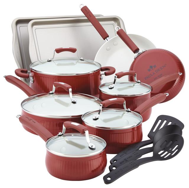 Paula Deen Savannah Collection Aluminum 17-Piece Cookware Set With ...