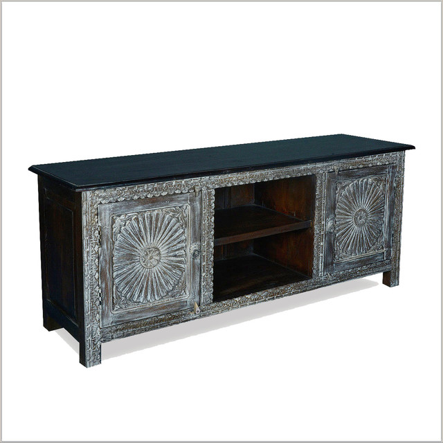 1de221a7d99b Traditional Hand Carved Reclaimed Wood TV Media Console Cabinet