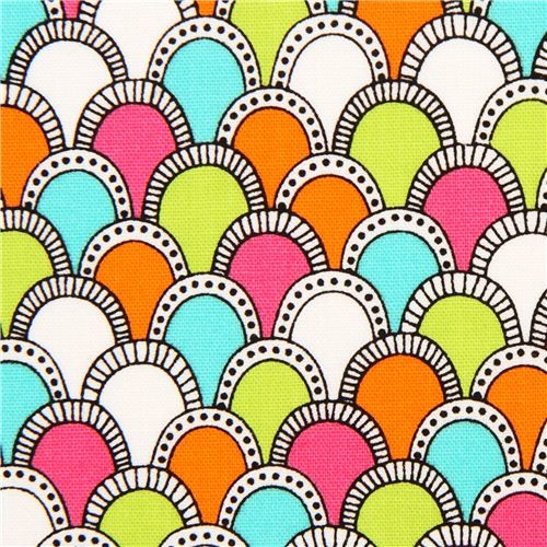 colourful fish scale pattern fabric by Robert Kaufman USA