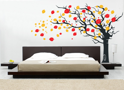 Flying Leaves Tree Wall Decal Modern Wall Decals By Pop - Wall decals leaves