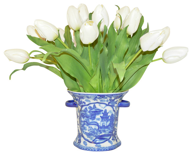 White tulips in a blue white container asian artificial flower white tulips in a blue white container mightylinksfo