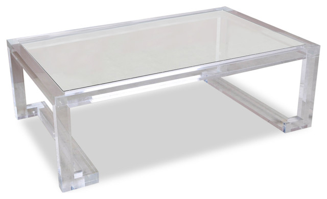 Delicieux Ava Hollywood Regency Modern Glass Acrylic Coffee Table