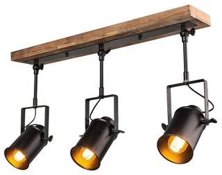 industrial style wood ceiling track lighting spotlights 3 light