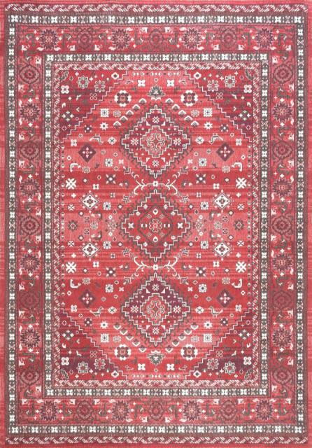Traditional Tribal Diamond Persian Area Rug, Red, 5'x8'