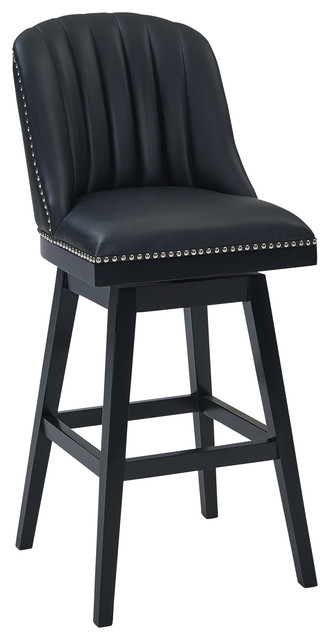 Swell Velasquez 26 Wood Swivel Counter Stool Black Wood Finish Black Faux Leather Pdpeps Interior Chair Design Pdpepsorg