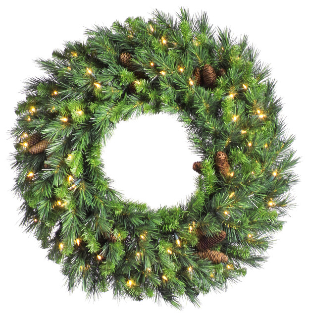 """Cheyenne Pine Wreath With Pine Cones, 24"""", Clear Lights."""