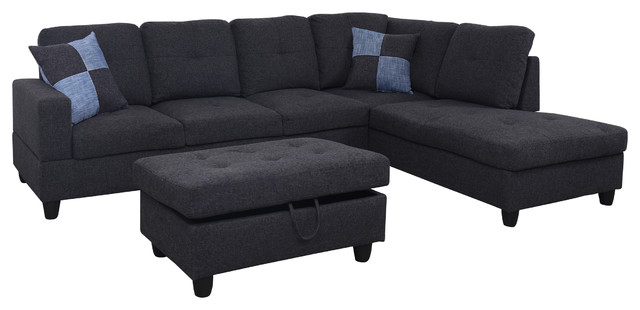 3 Pc Linen Right-Facing Sectional Set With Ottoman, 2 Accent Pillows,charcoal Gr.