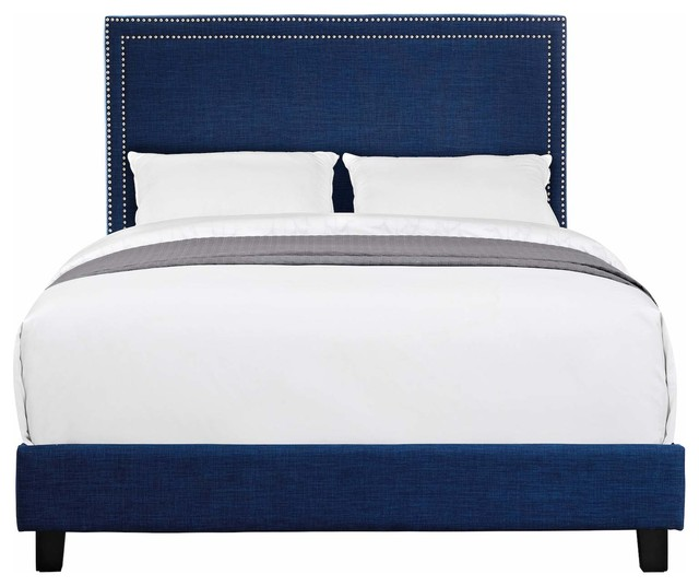 Adrano Upholstered Platform Bed, Blue, Queen. -1