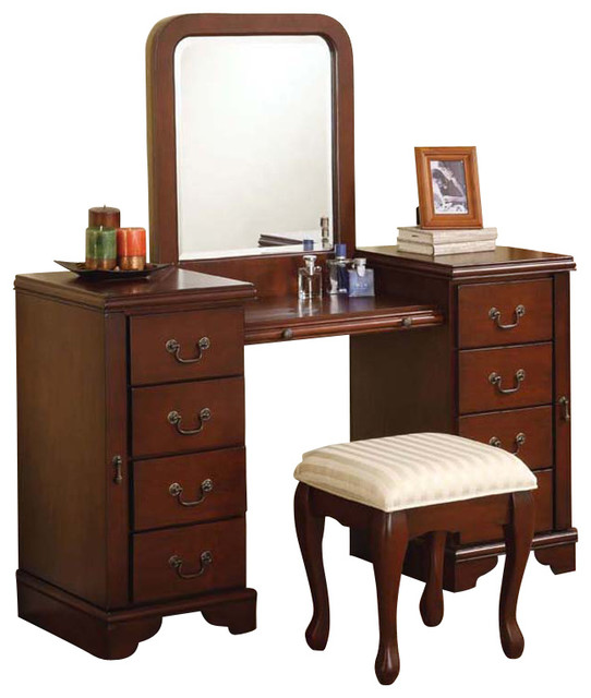 Cherry Louis Philipe 3 Piece Large Drawer Vanity Set Make Up Table Bench Mirror Contemporary