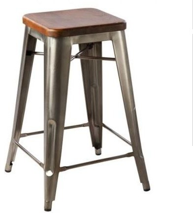 Hooligan Counter Stool Steel Rustic Wood industrial bar stools and