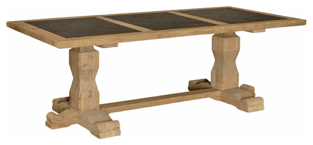 Gaston French Country Pine Stone Inset Dining Table