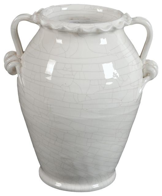"""Glazed Ceramic White Vase With Handle, 14"""""""