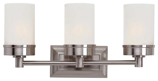 the latest 69e38 38120 Bathroom Vanity 3 Light Fixture With Brushed Nickel Steel Glass Medium 20