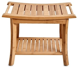 Bamboo shower bench with storage shelf modern shower for Abanos furniture industries decoration llc
