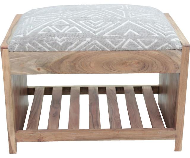 Milas Jacquard Cotton And Natural Acacia Wood Dark Taupe Bench.