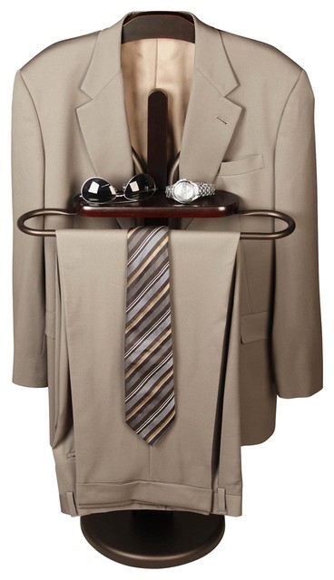 Free Standing Mens Espresso Wood Valet Transitional