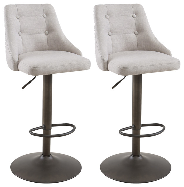 Pleasing Adjustable Height Bar Stools Set Of 2 Beige Ncnpc Chair Design For Home Ncnpcorg