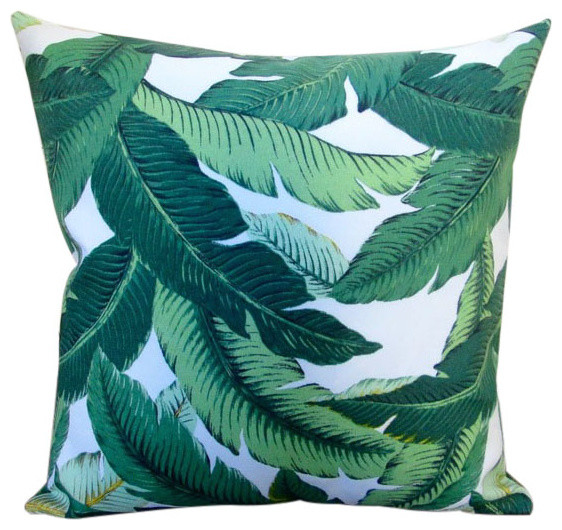 18 Indoor Outdoor Emerald Tropical Palm Leaf Throw Pillows Set Of 2 Cushions And By