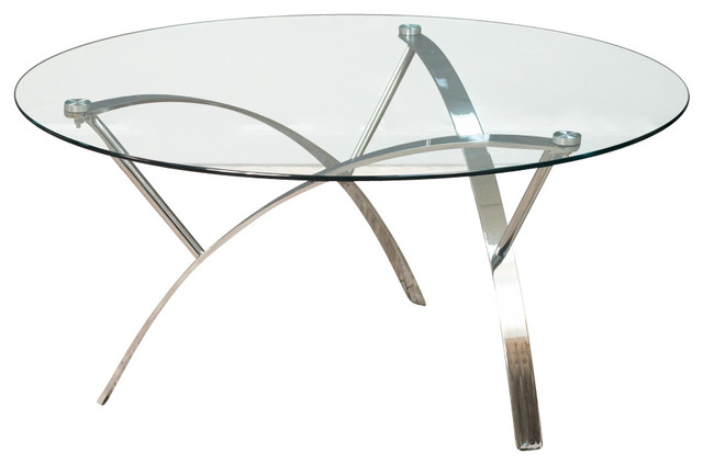 Merveilleux Tempered Glass Round Accent Table, Chrome Legs