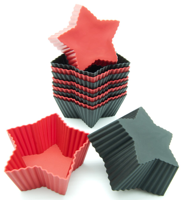 Freshware 12-Pack Silicone Mini Star Baking Cup, Red And Black.