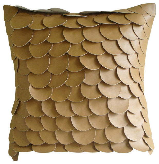 Fish Scales Brown Pillow Cases Faux Leather 14 X14 Pillows Cover