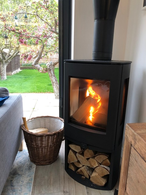Modern Freestanding Wood Burning Stove Installation Bushey Watford Contemporary Hertfordshire By Rigbys Fireplaces Outdoor Living Specialists Houzz