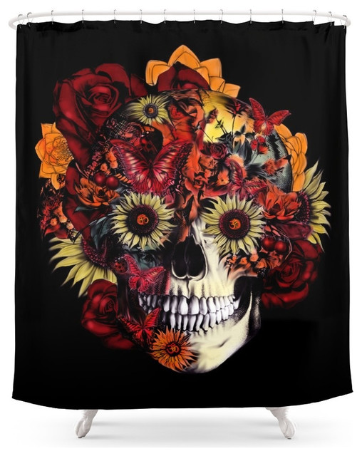 Full CircleFloral Ohm Skull Shower Curtain