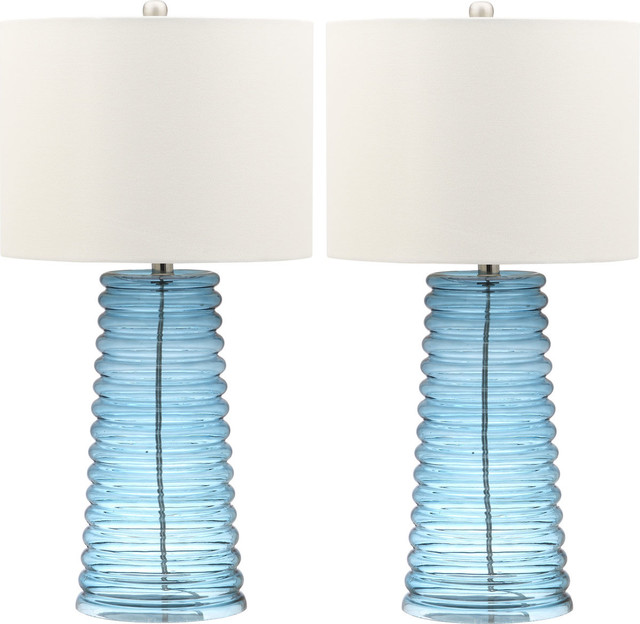 Yantley Table Lamp, Set Of 2, White Shade, Blue Base.