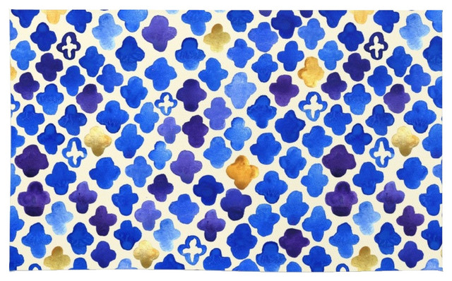 Society6 Rustic Watercolor Moroccan In Royal Blue And Gold Rug, 2u0027X3u0027  Contemporary