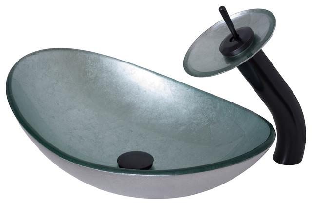 Novatto Argento Oval Glass Vessel Bathroom Sink Set, Oil Rubbed Bronze.
