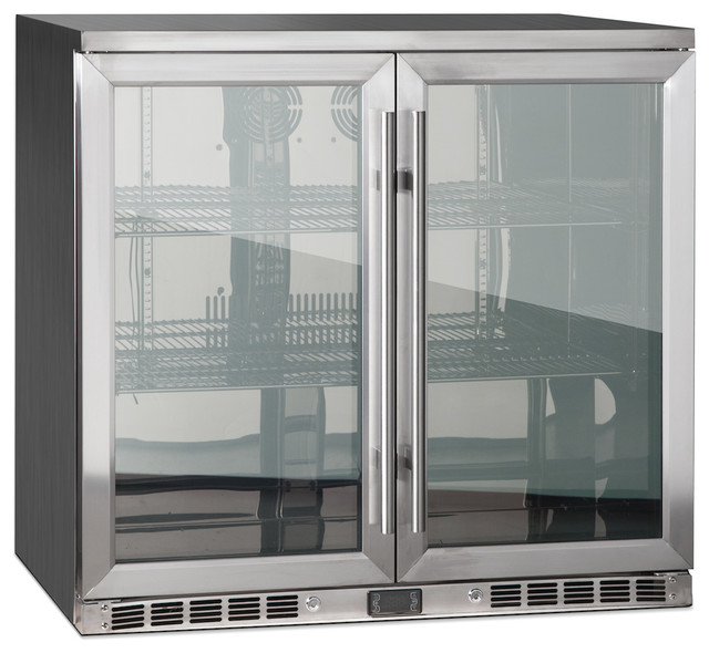 2 Door Front Venting Full Stainless Steel Bar Fridge