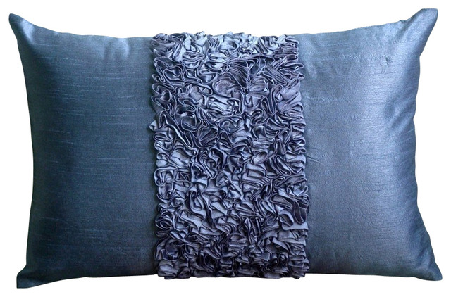 Modern Lumbar Pillows : The HomeCentric - Textured Ribbon Blue Art Silk Lumbar Pillow Cover, Blue Love & Reviews Houzz