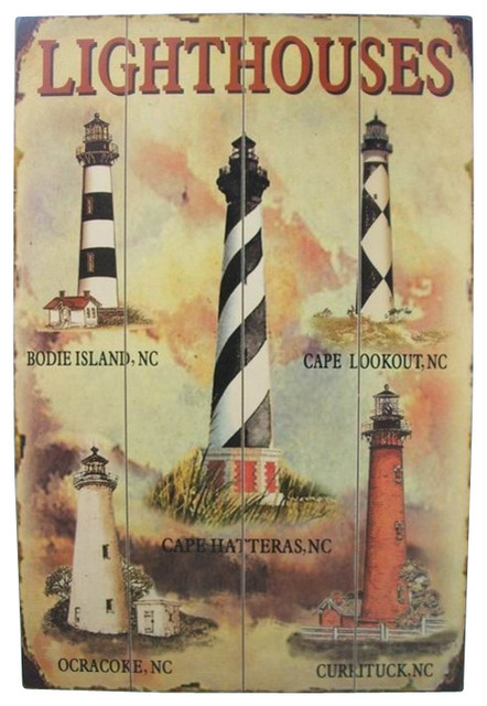 Wooden Lighthouse Wall Plaque Decor 24