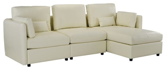 Modern L-Shape Sofa Leather Match Sectional, Right Facing Chaise, Beige