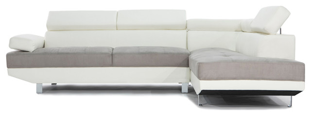 2 Tone Faux Leather Sectional Sofa